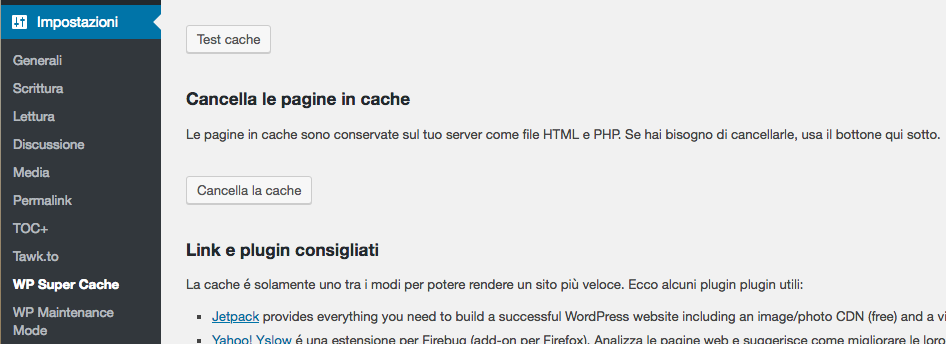 come pulire le cache del database wordpress con wp super cache